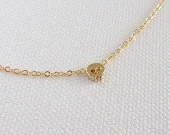 Tiny Gold Skull Bracelet, Mini Bead Simple Bracelet, Minimalist Jewelry Choose Gold Plate or 14k Gold Fill