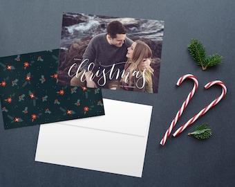 Christmas card set, double sided christmas card, photo card calligraphy christmas card holiday cards, custom christmas card trendy christmas