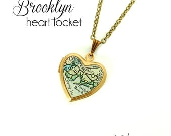 Brooklyn Map Necklace, Antique Map Jewelry, Heart Locket, New York, Vintage Brass Locket, Gift for Her