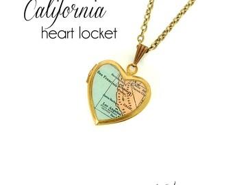 California Map Necklace, Antique Map Print, Small Vintage Brass Heart Locket, State Jewelry, Coastal, San Francisco, LA, Oakland