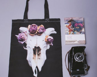 Sheep Skull and Flowers Tote Bag