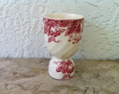 Vintage Pottery, Strawberry Fair, by Johnson Bros, England, Double Egg Cup, Pinkish Red and White, Strawberries, Leaves, 1959-1973
