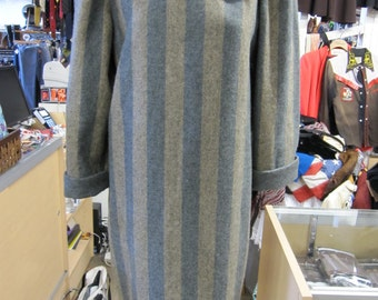 Wool Turtleneck Dress // 80s Clothes // 1980s Clothing // Striped Dress // Grey Gray Dress // Hipster // Indie Clothing // MEDIUM LARGE