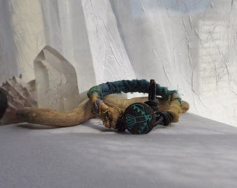 Rustic Blue and Yellow Sari Silk Ribbon and Leather Braided Bracelet, Cuff Bracelet, Bohemian Bracelet, Hippie Bracelet, For Spring, Summer