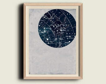 Sky chart print, Taurus, Zodiac Poster, Constellation wall art