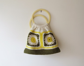 70s Retro Crochet Market Bag with Handles Green Yellow White Floral Hippie Fabric Bag
