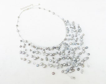 Silver gray freshwater pearl dangle necklace with crystal on silk thread