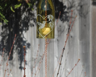 Hummingbird Heart - Wine Bottle Windchime Yellow/Copper , Windcatcher, Eco Friendly, Green, Upcycle, Recycle, Winebottle