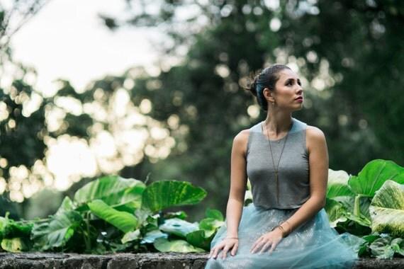 M Heather Gray Jen Crop Tank / Cropped Tank / Jewel Neckline / High Neck Top / Short Tank Top / Matches the Tessa Tutu / Holiday Fashion