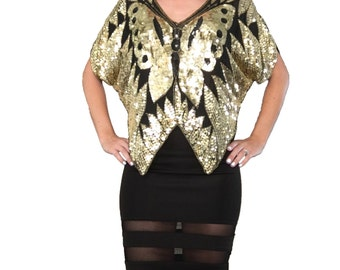 Gold Sequin Blouse/ Butterfly Top/ Sequin Butterly/ Gold Butterfly/ Butterflies/ Sequin Top/ Party Top/ Gold and Black Top/ Vintage Sequin
