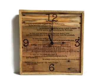 wedding vows personalized framed wedding vows wedding vows wall clock anniversary clock pallet wood wedding vows pallet clock