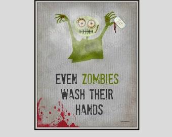 Kid superhero print school nurse art doctor pediatric medical for Zombie bathroom decor