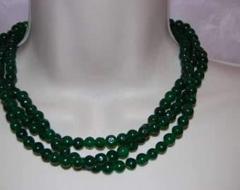 Forest Green Statement Necklace Green Beaded Necklace Chunky Bold Multi-Strand Bridesmaids Necklace Wedding Jewelry
