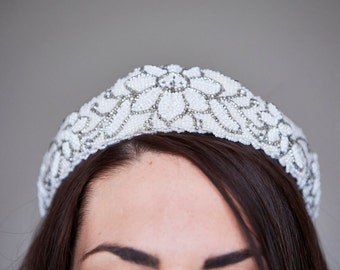 Vintage Art Deco Style Beaded Tiara/Crown - Bridal/Wedding - 1970s does 1920's Great Gatsby