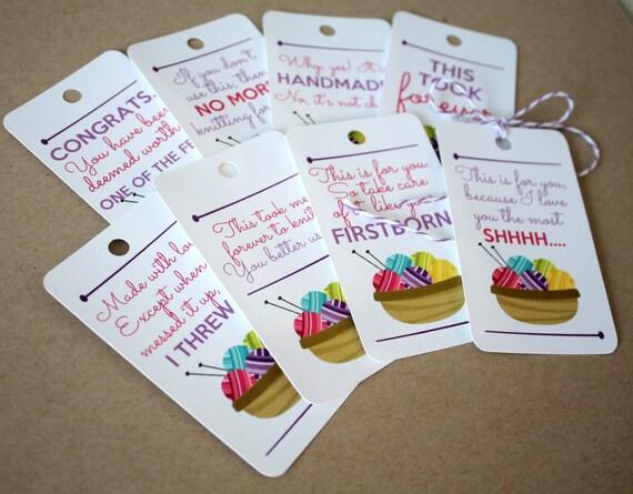 Knitting Gift Tags : Sassy knit gift tags set of