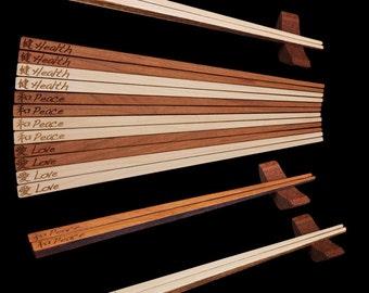 Hardwood Chopsticks and Rest