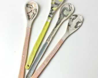 Long-Handled Round Spoon, Handmade Clay Spoon