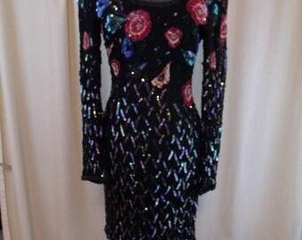 Vintage 80s Black Silk Sequin Beaded Floral Trophy Mini Dress M
