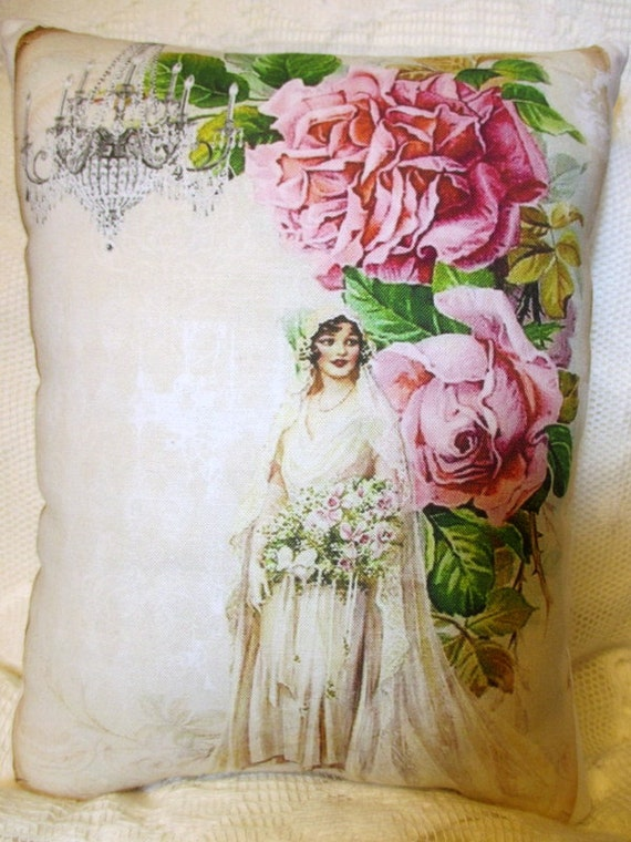 Victorian Lady Pillows : Items similar to VICTORIAN Lady Pillow, Pink ROSES Pillow, Chandelier Pillow, Bride, Wedding ...