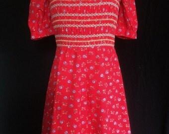 1960s  Vintage Dollyrockers Dress Red Floral Print Sundress Smocked Bodice A Line