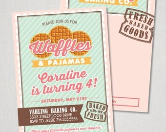 Waffles & Pajamas Party Invitation - Printed