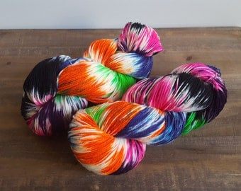 Over the Moon~ Hand Painted- Hand Dyed- Superwash -Merino Wool - Nylon Sock Yarn- 420yds - sw 80/20- Do you believe in magic