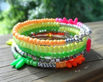 Memory wire Bracelet in Neon and silver seed Beads and Czech Beads