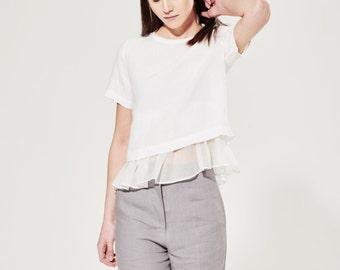 Crop Linen Tee / Crop Top / White Linen Boxy Shirt / Navy Blue Linen / Washed Linen Blouse / Short White T-shirt / Summer Top