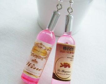 Rose wine plastic bottle earrings - wine bottle charm earrings - pink wine jewelry - mini rose wine bottle jewelry - festive wine gift