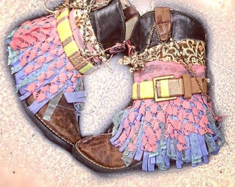 boho Boots/Gypsy Boots/Hippie Boots/Fringe Boots
