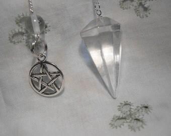1 Pentagram Clear Quartz Pendulum Gemstone Crystal - Reiki Chakra Wicca - Energy Amplifier Powerful Healer 22731E