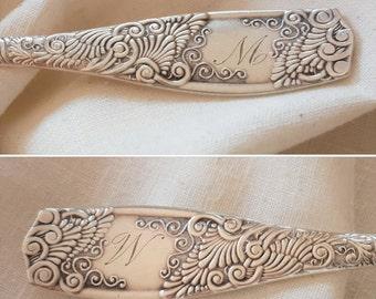 "1800s Silverplate Sugar Spoon 6 1/2"" - Eudora 1888 by Towle - Monogram W or M - Gold Wash Bright Cut Bowl"