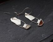 SALE Asymmetric geometric earrings, Sterling silver earrings with sea glass shards, Irregular shape earrings