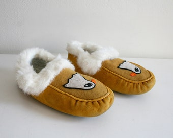 Beaded Eagle and Rabbit Fur Slippers