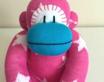 Pink Star  Baby Sock Monkey, Sockmonkey, Monkey, Animal, Plush