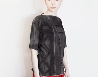 T-shirt Black, Grey Tunic, Hand painted, one of a kind, light cotton gauze top
