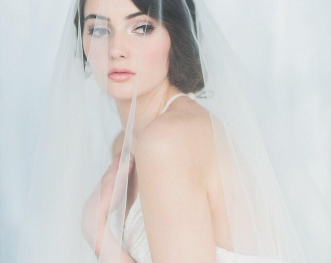 Drop Veil, Bridal Veil, Circle Veil, Ivory Veil, White Wedding Veil, Modern Veil, Couture Veil, Simple Veil, Blusher, English Tulle, NATALIA
