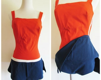 Vintage 50s 60s Rose Marie Reid Orange Blue and White Sailor Swimsuit