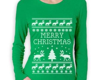 Merry Christmas Reindeer Ugly Sweater Women's Long Sleeve T-Shirt