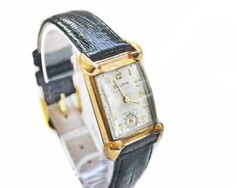 1940s Bulova Bankers Watch - His Excellency NN - 21 Jewels, Fancy Lugs - Vintage 1948 Watch - Gold Filled - Men's Watch - Gift for Him Her
