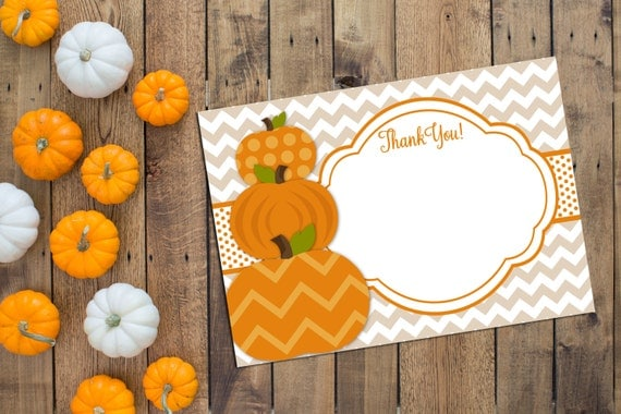 Little Pumpkin Thank You Note - Fall Baby Shower - Orange and Tan - Chevron Stripes - INSTANT DOWNLOAD - Printable