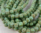 Czech Beads, 5mm Melon, Czech Glass Beads, Picasso Beads - Turquoise Picasso (D5M/SM-T6313) - Qty. 50