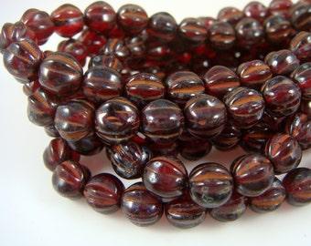 Czech Beads, 6mm Round Beads, Druk Melon Czech Glass Beads - Garnet Picasso (D6M/N-0410) - Qty 25