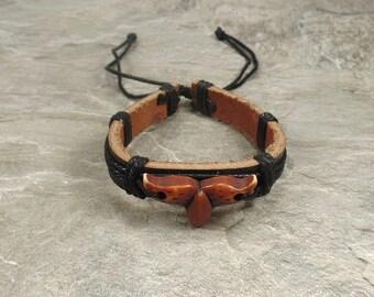 Whale Tail Bracelet - Black Leather Bracelet - Brown Whale Tail -  Nautical Bracelet - Whale Leather Bracelet -Beach Jewelry -Whale Bracelet
