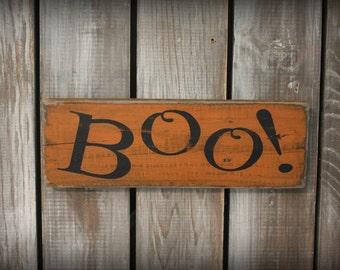Primitive Halloween Boo Sign, Painted Wood Sign, Halloween Decor