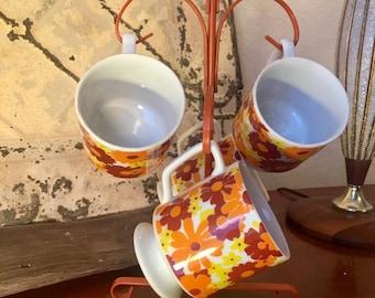 Retro Flower Cup, Flower Mug, Vintage Mug, Red Flowers, Orange Flowers