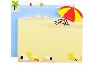 At the Beach Sticky Notes Set - Two Styles - Planners, Memos, Labels, Notes to Self - Beach Umbrella Sailing Seashore Vacation