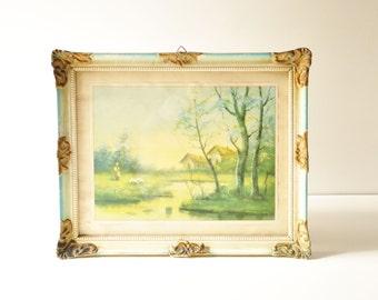 Vintage Mint Green Framed Landscape Print - Shabby Chic Wooden Frame