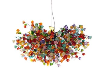 Multicolored flowers hanging chandeliers for dinning room, a very unique lighting for  living room or bedroom.