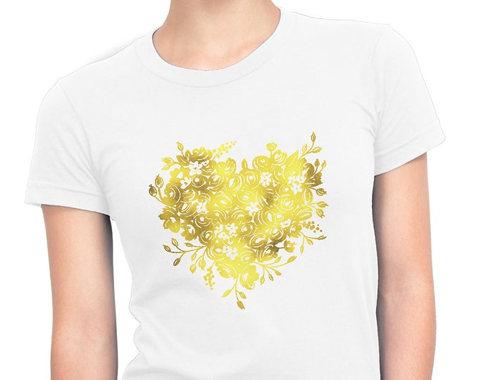 Floral Heart Women's Cotton T-Shirt Gold Foil by The First Snow